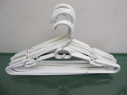 Set of 12 white plastic hangers