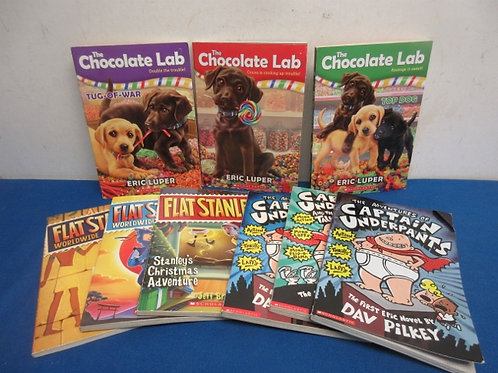 Set of 9 chapter books, Captain underpants, flat stanley, and more