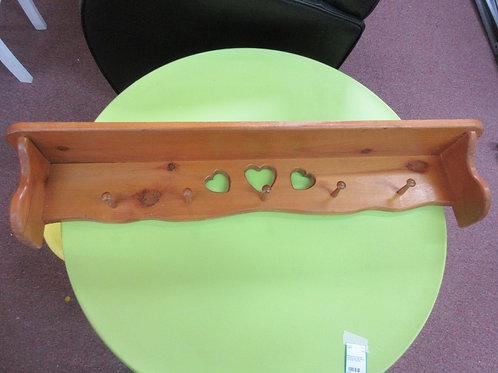 "Solid pine wall mounted shelf/coat rack with heart design 39x5""deep"