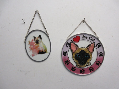Pair of glass wall hanging with cat design