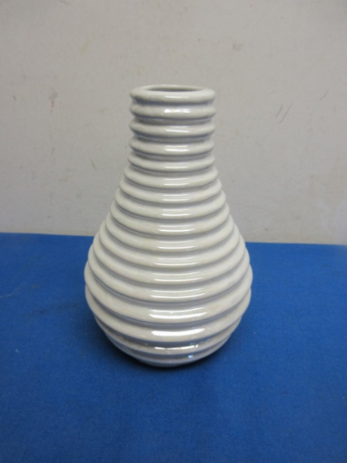 White iridescent vase