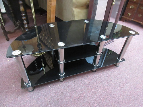Black glass and silver corner tv stand with 2 bottom shelves - 18x44x18