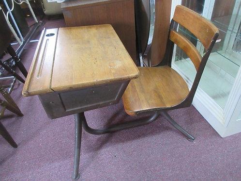 Vintage school desk, with metal base