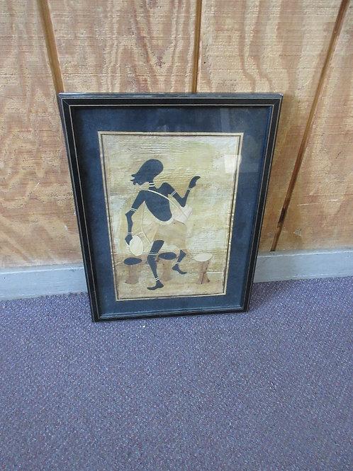 African banana leaf wall art-man dancing & playing drum-black mat, gold frame