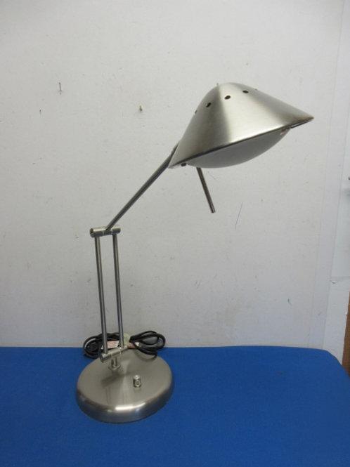 Brushed stainless adjustable arm desk lamp