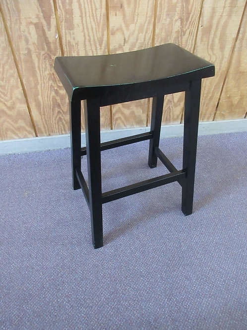"""Black wooden saddle seat stool, 24"""" tall, 2 available"""