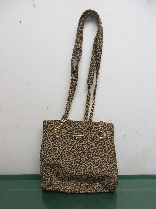 Nine West leopard print shoulder bag with gold chain straps