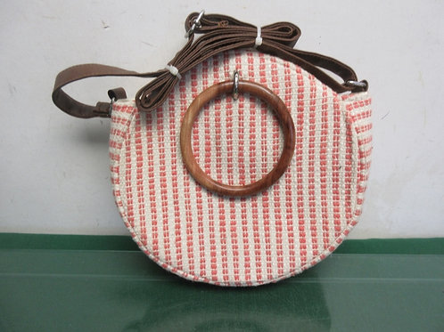 Time & Tru beige & pink purse with wood handles and strap
