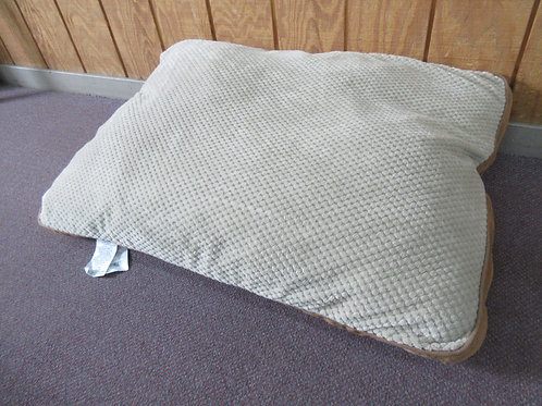 Large tan & brown rectangular dog cushion bed, app. 30x38""