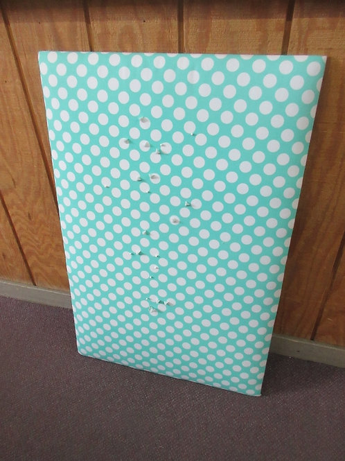 Pottery Barn turquoise and white large padded memo board with white tacks -