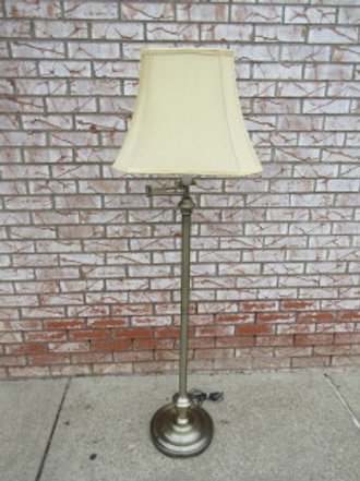 "Black metal base table lamp has white shade with beaded edge 31""high"