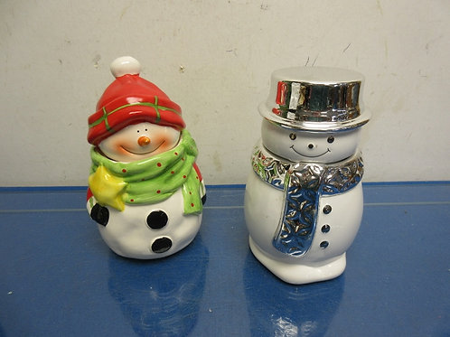 Pair of ceramic snowmen, one is  a treat jar,--(silver hat) is a scented candle