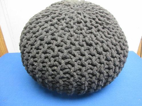 Black braided pouf ottoman - black