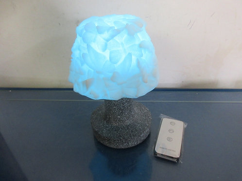Barbara King Tabletop sandstone lamp w/remote - butterfly design shade - brand n