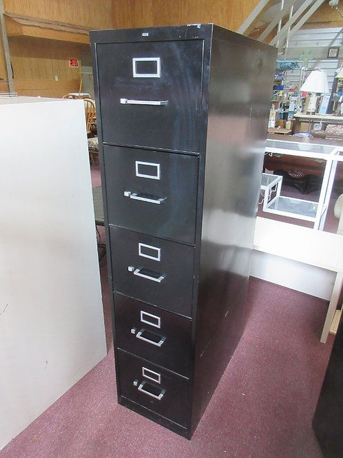 Black metal 5 drawer vertical letter size file cabinet w/hanging bars - 29x15x60