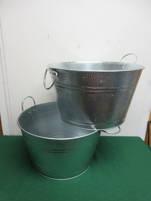 """Pair of galvinized round tubs, 15"""" dia x 9""""high/ New"""