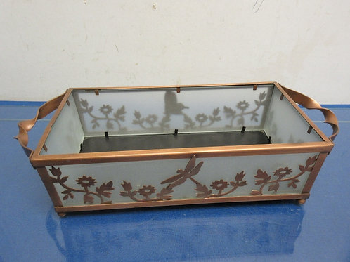 Partylite rectangular candle tray with frosted panels and copper tone metal fram