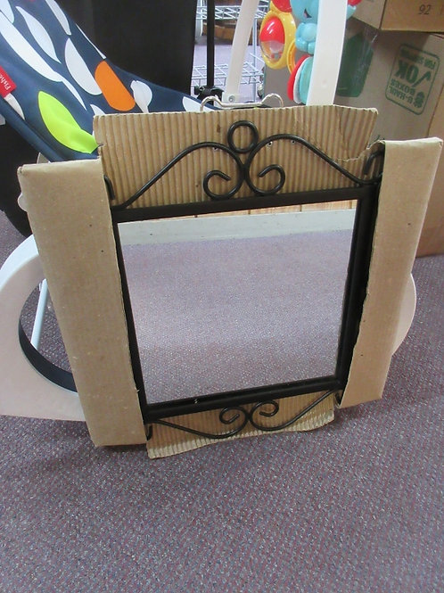 Black metal square mirror with scroll design frame -16x16 - 2 avail