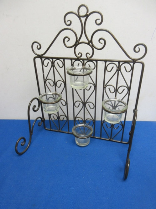 Tabletop silver ornate metal candle stand - holds 4 votive candles