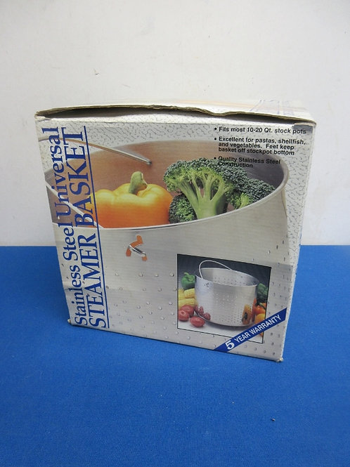Stainless steel steamer basket, fits 10-20qt stock pots, never used