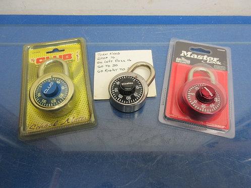 Set of 3 combination locks, 2 Master and1 Club