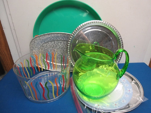 Assorted plastic & disposable items, serving tray, platters, plates, bowl, pitch