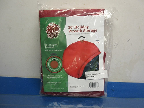 "Santa's Bag 30"" holiday wreath storage container, in package"