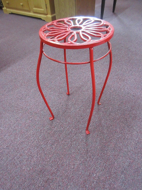 """Red metal plant stand, 21""""tall, 12"""" diameter"""