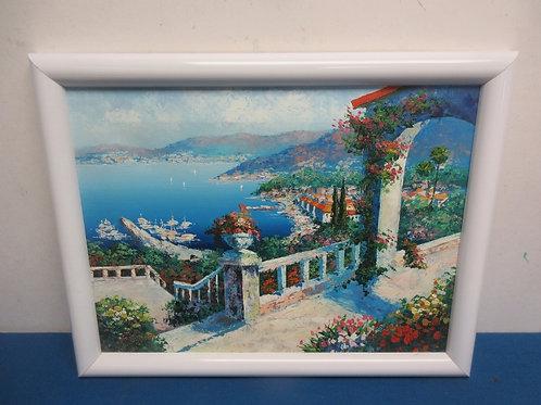 Oil painting print of garden overlooking lake, 14x18