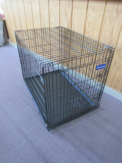 Petmate black metal fold up dog crate with plastic slide out tray - 24x36x27.5