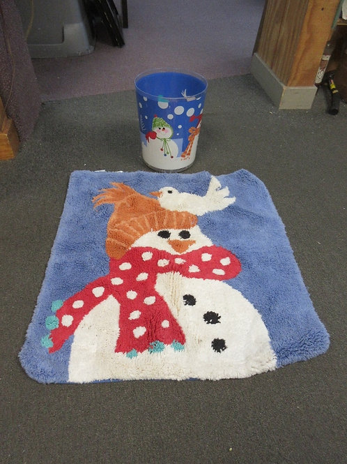 Snowman bath set, waste basket and square throw rug 24x24""