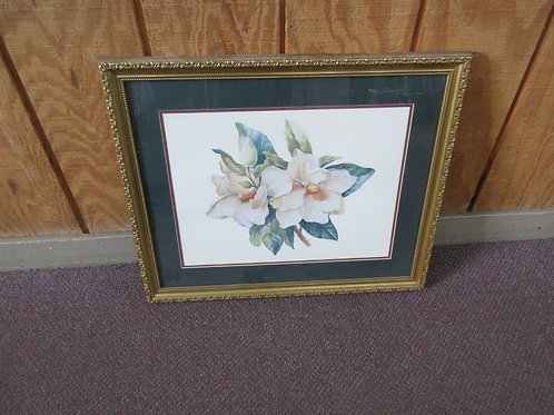 Home Interior magnolia print - green mat - gold frame - 18x22