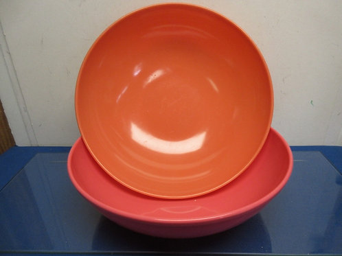 Pair of large melamac bowls - (1) rose colored and (1) peach