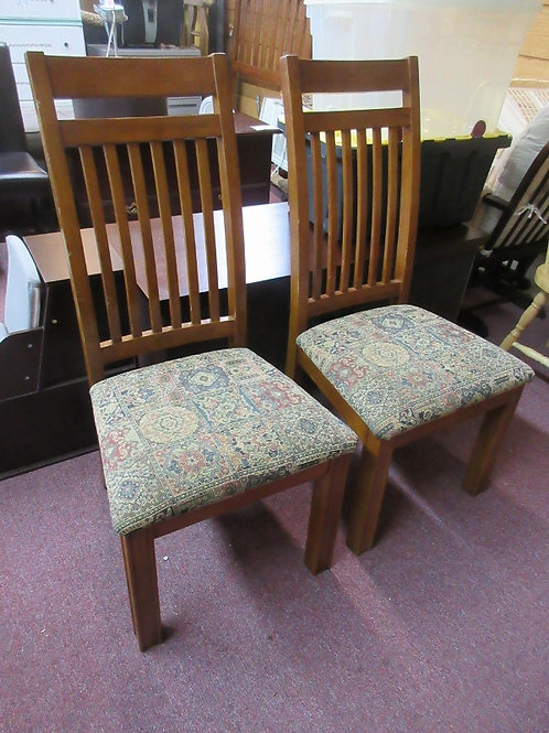 Set of 2 mission style chairs with tapestry style seats