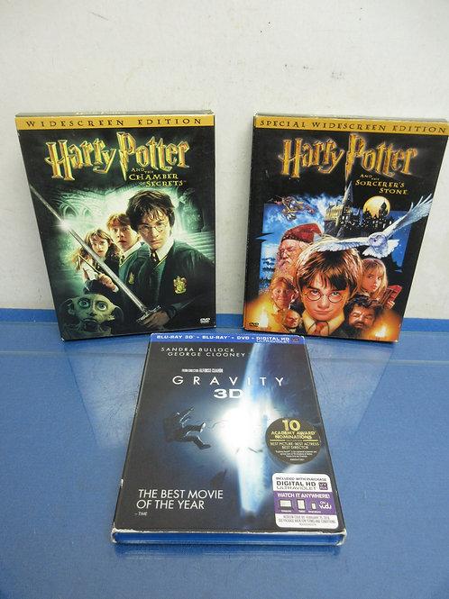 Harry Potter Sorcerers Stone, H.Potter chamber of secrets &gravity 3D on blu ray