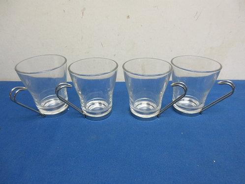 Set of 4 glass & silver coffee mugs