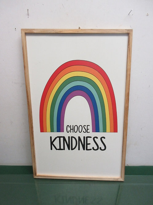 """Choose Kindness wall hanging in wood frame, no glass, 14x21"""""""