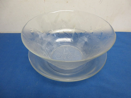 Two bowls, large glass deep bowl with Coca Cola design & low glass bowl