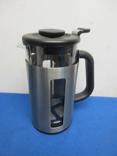 OXO stainless and black 6 cup coffee press