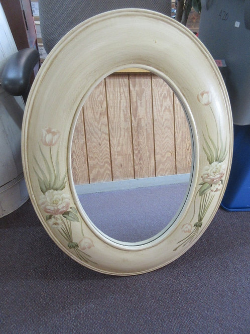Wood ivory painted wide oval frame mirror, flowers on frame 24 x32