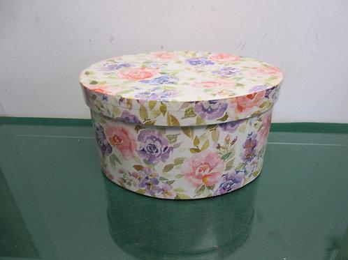 "Oval floral decorative box 9x11x6""high"