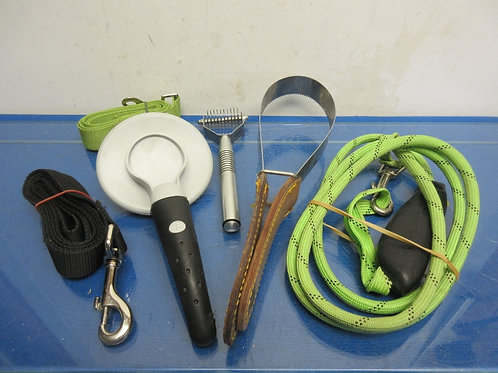 Dog accessories, brushes, leashes, and shed'n blade