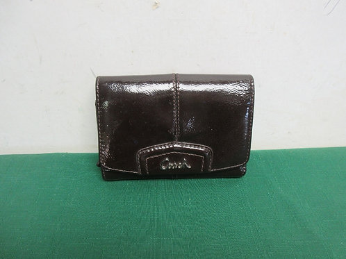 Coach paten leather burgundy wallet