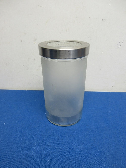 Frosted glass cylinder canister with chrome & glass lid