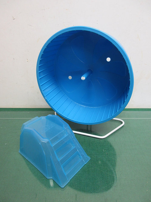 Blue small animal running wheel and walk up ramp