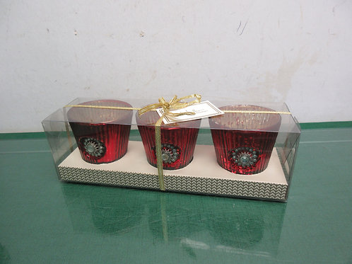 Nicole Miller Home set of 3 red tea light holders with gem stone accents
