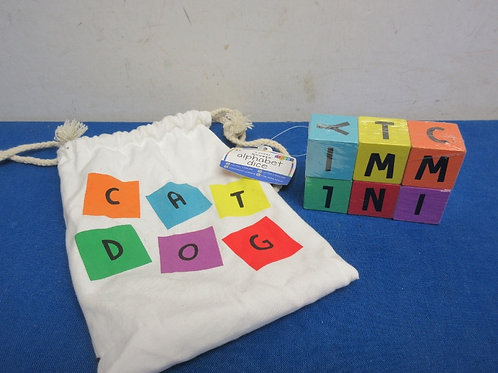 Wooden alphabet dice blocks