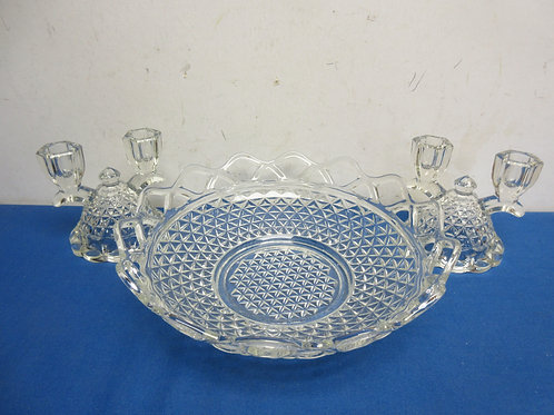 Cut glass fruit bowl and 2 matching taper candle holders