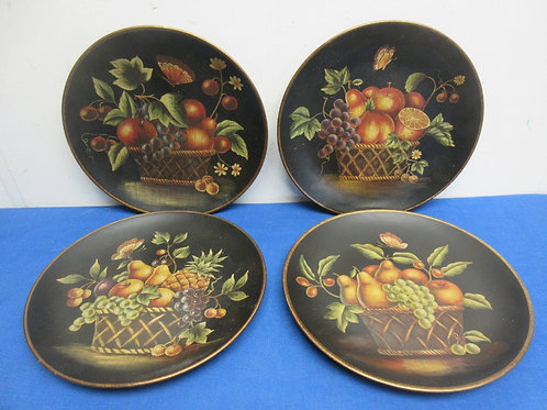 """Set of 4 small decorative plates, with fruit basket theme, 10"""" dia"""