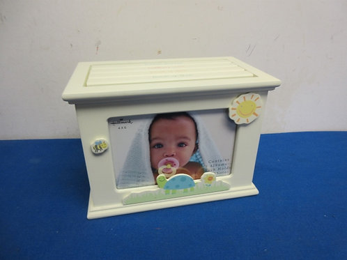 Hallmark wooden photo box as baby grows, 4 lift out sections